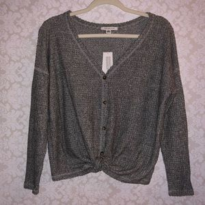 American Eagle S gray front tie top sleeves NWT